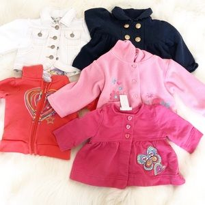 Lots of 5  Baby Girl Jackets And Hoodies 3-18 Mos.